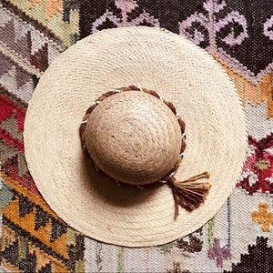 Vintage Straw Hat with Braided Seashell Trim